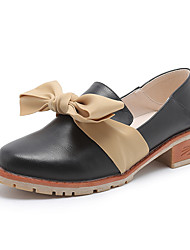 cheap -Women's Heels Chunky Heel Round Toe Casual Daily Walking Shoes PU Bowknot Solid Colored Almond Black