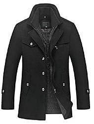 cheap -men's winter thicken warm stand collar wool coat black xl