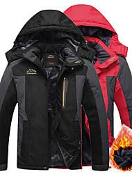 cheap -Men's Hiking Jacket Ski Jacket Hiking Windbreaker Winter Outdoor Thermal Warm Windproof Breathable Rain Waterproof Hoodie Winter Jacket Top Fleece Single Slider Camping / Hiking Hunting Fishing Black