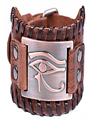 cheap -vintage amulet eye of horus leather bracelet cuff bangle egyptian talisman pagan jewelry (antique copper,brown)