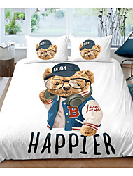 cheap -Bear Print Bedding Duvet Cover Set Cute Cartoon Bear Printed Design Boys Girls Animal Bedding Sets