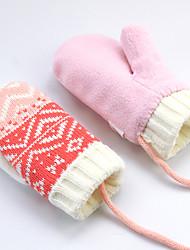 cheap -2pcs Infant Girls' Basic Striped Full Finger Cotton Gloves Blushing Pink M / L