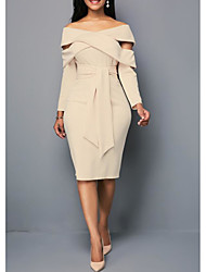 cheap -Women's Sheath Dress Knee Length Dress - Long Sleeve Solid Color Layered Spring Summer Off Shoulder Plus Size Formal Slim 2020 Blue Purple Khaki S M L XL XXL 3XL 4XL 5XL