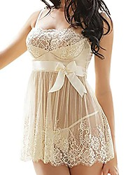 cheap -nightwear babydoll bowknot sleepwear lace chemise mini teddy (white, s)