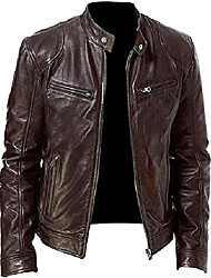 cheap -vintage cafe racer retro biker unisex genuine leather jacket, brown, xx-small