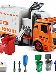 cheap -garbage truck toys for boys,  diy friction powered waste management recycling truck toy set with 4 trash cans, toy vehicles with light and sound, gifts for 3-12 years old toddlers
