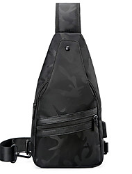 cheap -Men's Bags Nylon Sling Shoulder Bag Chest Bag Zipper Daily Outdoor MessengerBag Black