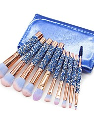 cheap -New 10 sets of diamond brushes blue diamond handle top powder eye shadow brush beauty tools