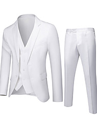 cheap -White / Black / Purple Solid Colored Standard Fit Polyester Suit - Notch Single Breasted Two-buttons