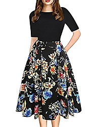 cheap -fashion summer womens vintage patchwork pockets puffy swing floral print casual party princess dress black