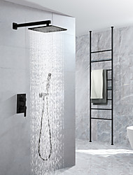 cheap -16 Inch Black Shower Faucets Sets Complete with Rainfall Shower Head Ceiling Mounted Shower Head System(Contain Shower Faucet Rough-in Valve Body and Trim)