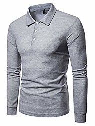 cheap -long sleeve slim fit solid color tee plus size golf polo shirt light grey us m