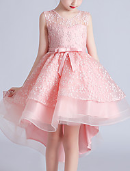 cheap -Kids Little Girls' Dress Floral Mesh Bow White Blue Blushing Pink Above Knee Sleeveless Cute Sweet Dresses Children's Day Regular Fit