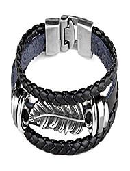 cheap -punk rock alloy buckle bracelet feather leather bracelet,7.0inches