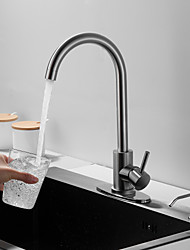 cheap -Kitchen faucet with Soap Dispenser- Single Handle One Hole Nickel Brushed / Stainless Steel Standard Spout / Tall /Prep Deck Mounted Contemporary /Kitchen Taps