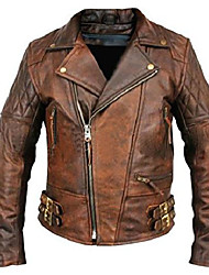 cheap -streamline choice men's lambskin vintage distressed brown leather biker jacket - medium