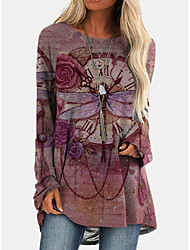 cheap -Women's Shift Dress Knee Length Dress Long Sleeve Print Animal Print Fall Casual 2021 Red Green S M L XL XXL 3XL