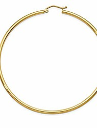 cheap -extra large 14k yellow gold tube hoop earrings with click-down clasp (2mm tube), (65mm)