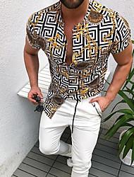 cheap -Men's Shirt Other Prints Geometric Print Short Sleeve Daily Tops Yellow
