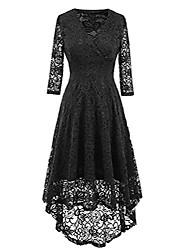 cheap -women lace dress vintage 50's retro 3/4 sleeve floral swing party cocktail wedding midi dress black