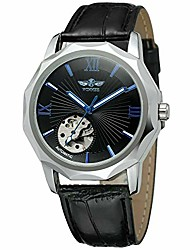 cheap -skeleton mechanical watches for men wind up automatic wrist watch leather band classic fashion casual business dress watch