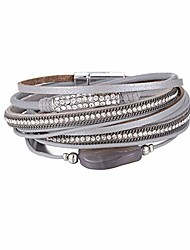 cheap -multilayer leather bracelet handmade crystal wrap bangle with magnetic clasp leather wrap bracelet bohemian jewelry gift for women and girl (grey)