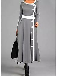 cheap -Women's Shift Dress Maxi long Dress - Long Sleeve Color Block Button Fall Winter Vintage 2020 Gray M L XL XXL 3XL