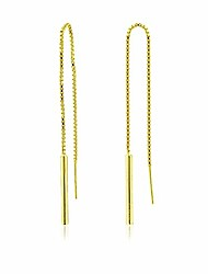 cheap -river island yellow gold flashed sterling silver tassel bar threader dangling chain earrings 4.5 inch