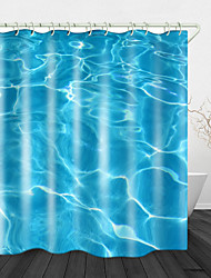 cheap -Blue Wavy Sea Water Digital Printing Shower Curtain Shower Curtains  Hooks Modern Polyester New Design