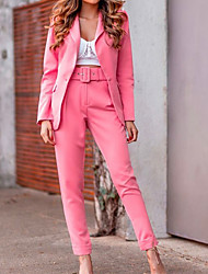 cheap -Women's Blazer Solid Colored Cotton Blend Coat Tops Red / Yellow / Blushing Pink