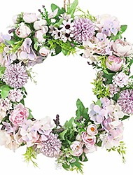 cheap -door wreath, 16 inch artificial silk flower peony hydrangea thanksgiving wreaths for halloween christmas holidays home kitchen office wall window wedding décor all season
