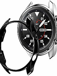 cheap -case compatible with samsung galaxy watch 3 45mm, soft tpu plated case protector bumper shell for galaxy watch 3 45mm (black+silver, tpu 45mm)