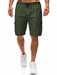 cheap -classic outdoor 9 inch inseam drawstring cargo shorts for men casual hiking velcro pockets trunks baggy pants army green