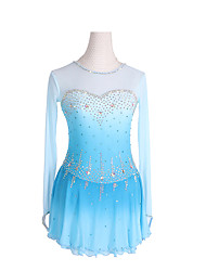 cheap -Figure Skating Dress Women's Girls' Ice Skating Dress Sky Blue Spandex High Elasticity Competition Skating Wear Crystal / Rhinestone Gradient Color Long Sleeve Ice Skating Figure Skating / Kids