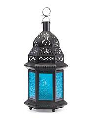 cheap -moroccan lantern blue glass candle holder candleholder (2, 1 lantern)