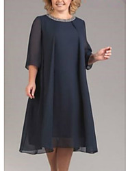 cheap -Women's Shift Dress Midi Dress - 3/4 Length Sleeve Solid Color Sequins Ruched Patchwork Spring Fall Plus Size Casual Oversized 2020 Black Red Navy Blue S M L XL XXL 3XL 4XL 5XL