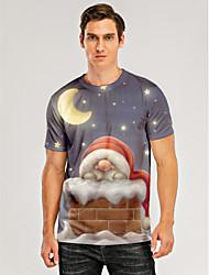 cheap -Men's T shirt 3D Print Graphic 3D Print Short Sleeve Christmas Tops Gray