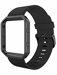 cheap -sport band compatible with fitbit blaze smartwatch sport fitness, silicone wrist band with meatl frame replacement for fitbit blaze men women, large, black band+black frame