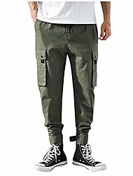 cheap -men's cargo pants multi-pocket slim fit stretch tapered sweatpants expandable waist drawstring pants casual trousers army green