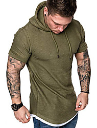 cheap -mens fashion casual hooded t-shirts short sleeve solid color summer hooded t-shirts - 5color grey