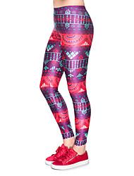 cheap -Women's Sporty Comfort Gym Yoga Leggings Pants Patterned Ankle-Length Fuchsia
