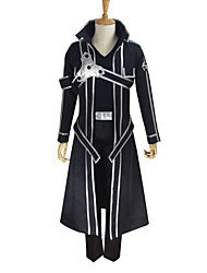 cheap -Inspired by SAO Swords Art Online Kirito Anime Cosplay Costumes Japanese Cosplay Suits Solid Colored Long Sleeve Coat Pants Gloves For Men's Women's / T-shirt / Belt / Strap