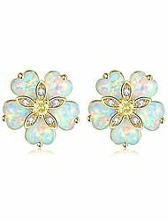 cheap -flower opal stud earring,14k yellow gold plated stud earrings for women hypoallergenic jewelry gemstone stud earrings 15mm
