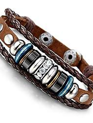 cheap -vintage genuine leather bracelet for men cz brown adjustable bangle braided bracelet, brown bracelet