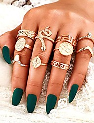 cheap -10 pcs women rings set knuckle rings gold bohemian rings for girls vintage gem crystal rings joint knot ring sets for teens party daily fesvital jewelry gift(style 6)