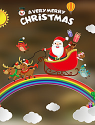 cheap -Christmas Toys Christmas Window Clings Window Stickers Wall Decals Santa Claus Reindeer Merry Christmas Waterproof Removable Party Favor PVC 4 pcs Adults Kids 35*3cm Christmas Party Favors Supplies