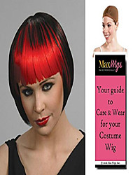 cheap -2 tone pageboy color black/red - enigma wigs anime cosplay china doll goth straight bangs vampiress women bundle with cap, maxwigs costume wig care guide