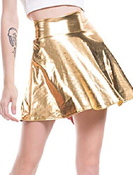 cheap -women's casual fashion shiny metallic flared pleated a-line mini skirt for women nightout wear (gold, medium)