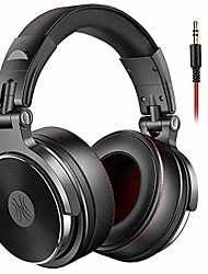 cheap -adapter-free over ear headphones for studio monitoring and mixing, sound isolation, 90° rotatable housing with top protein leather earcups, 50mm driver unit, wired headsets with mic (pro-50)