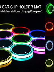 cheap -New Car LED Light Cup Holder Automotive Interior USB Colorful Lights Lamp Drink Holder Anti-Slip Mat Auto Products